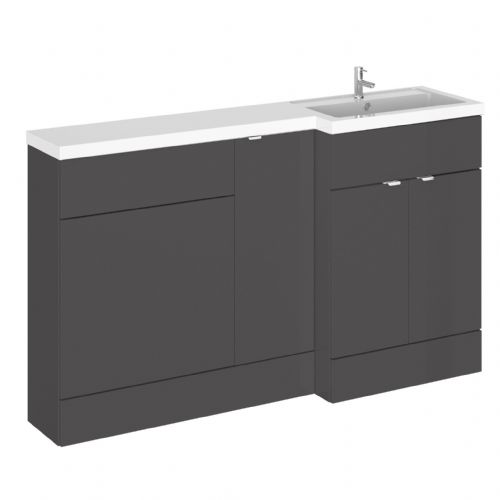 Elite Grey Gloss 1500mm Combination Furniture Pack - Right Hand